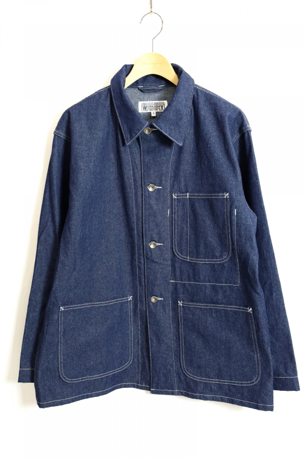 ENGINEERED GARMENTS WORKADAY / Utility Jacket Printed-8oz Washed Denim