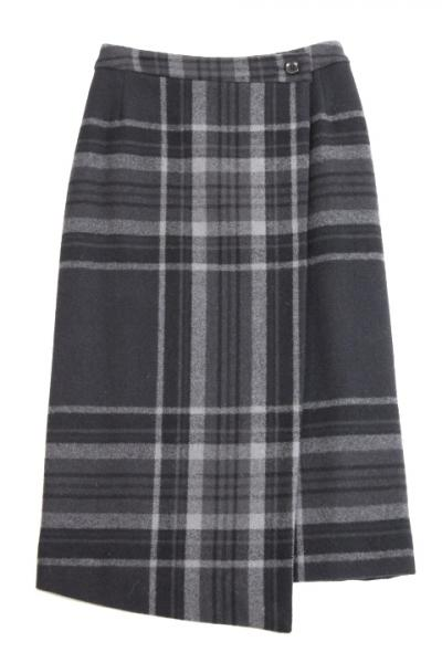 White Mountaineering Ladies/MELTON TARTAN CHECK WRAPPED SKIRT